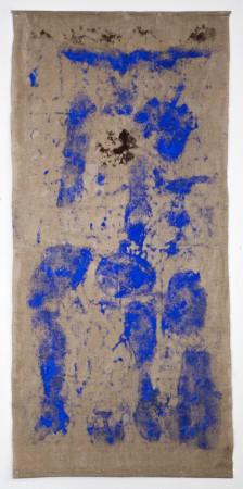 200 x 100 cm. Pigment on Linnen. 2016. We Always Carry Our Body. National Gallery of Denmark. Photo Martin Kurt Hagelund