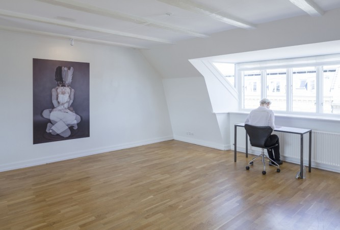Sophie Dupont. From left. Reflection. 2014. Flatbedprint on alu. Marking Breath. Etching on Copper Plate. Sunrise – Sunset. ( Installation View) Foto: Anders Sune Berg.