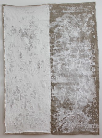 8 - 9 June 2019. Berlin. Mixed media on linen. 200 x 140 cm. Titan white