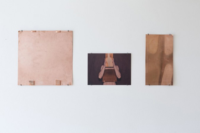 Sophie Dupont. Heart Brain Buffer, 2014. 3 pieces. From left : Copper Plate, Flatbedprint on copper. Copper Plate. Foto: Anders Sune Berg